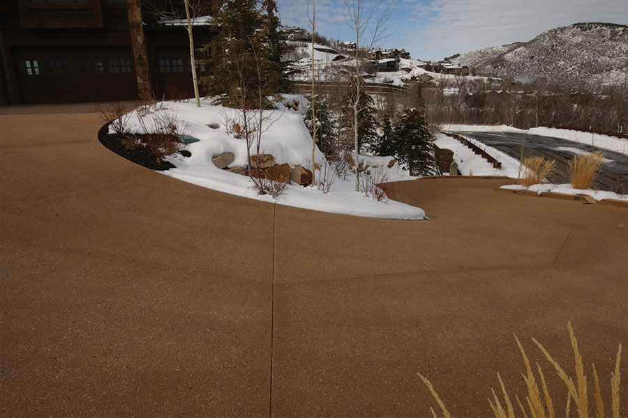 Driveway with snowmelt system after concrete pour.