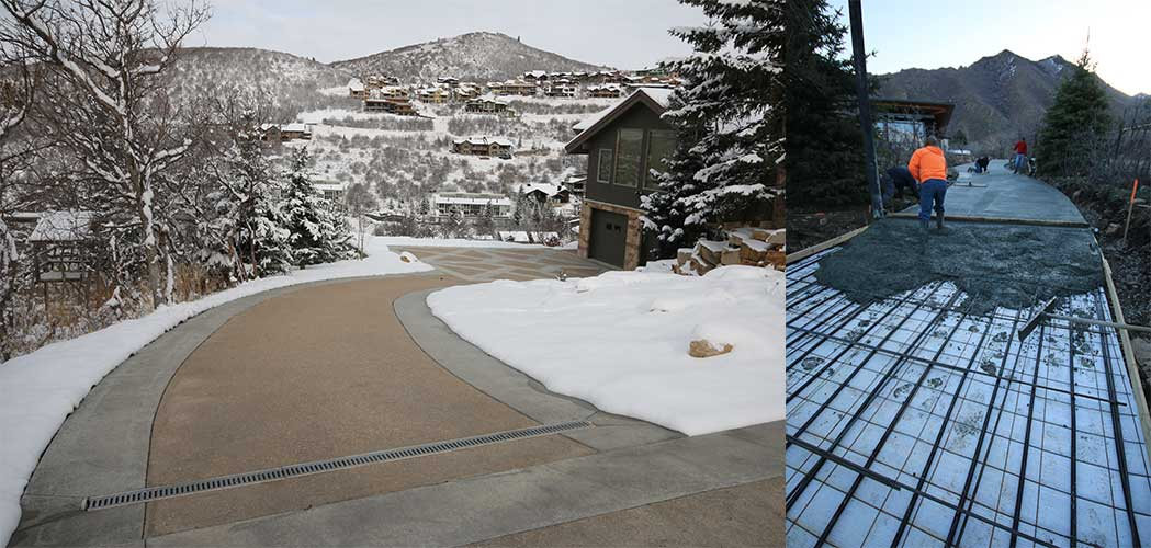 Slanted driveway with snowmelt system installed.