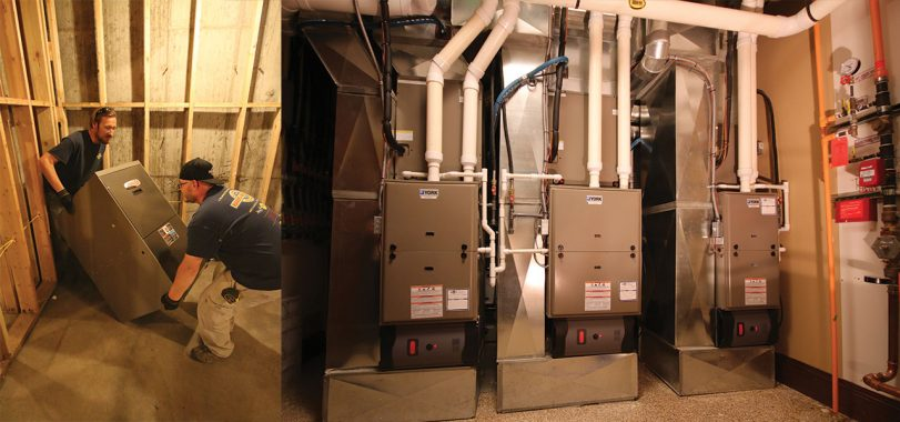 Split Shot of Furnace Installation
