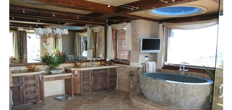 Fancy Marble Bathroom with Stone Tub