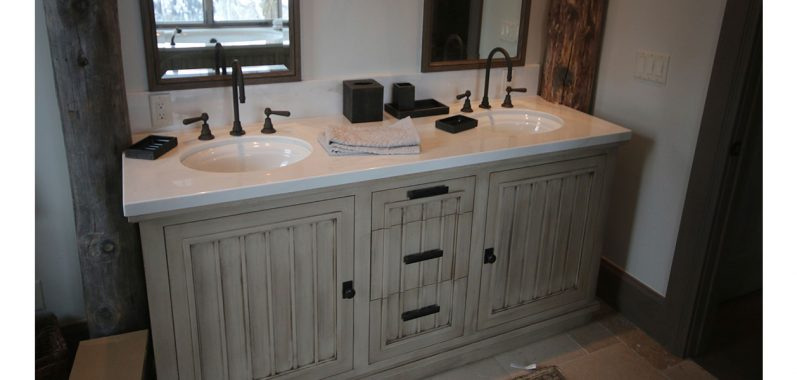 Double sink bath counter with custome faucets