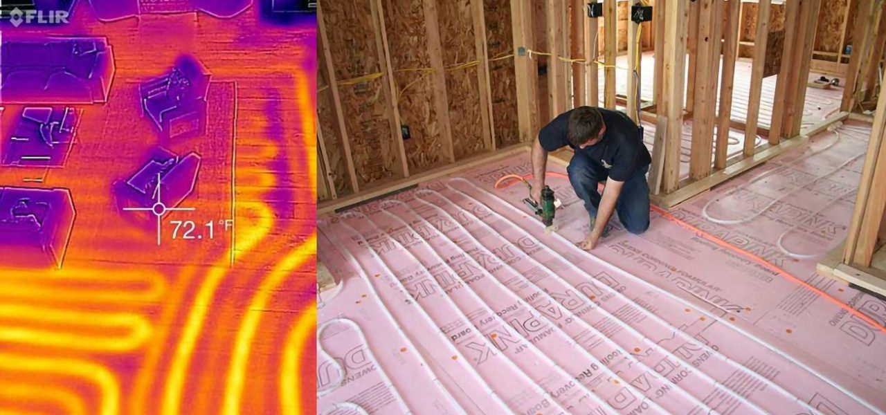 Split image of floor heating system installation and an infrared image of the heated floor.